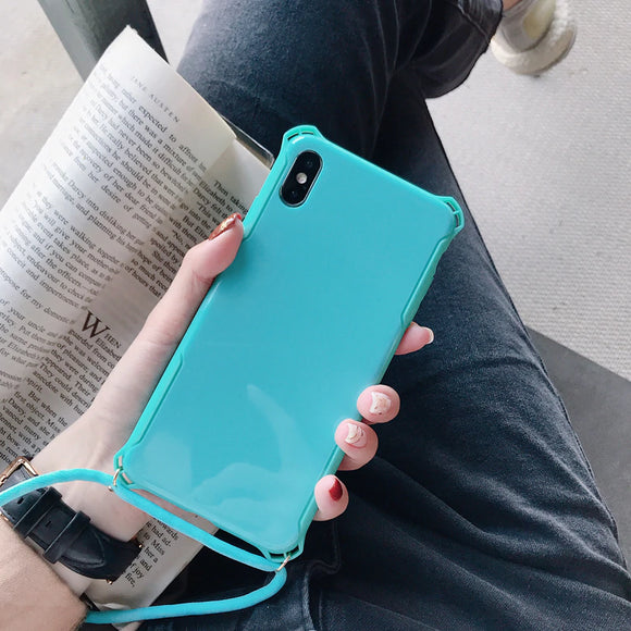 Blue/Tiffany Plain Case with Lanyard - كفر مع خيط علاقة