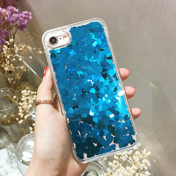 Blue Glitter Liquid Case