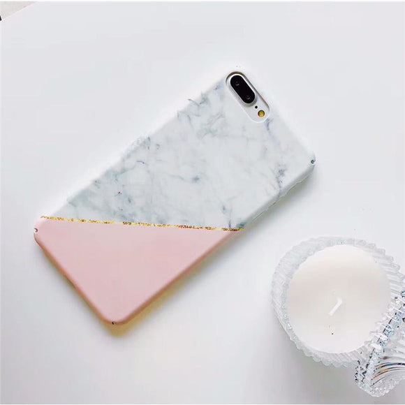White Marble with Pink Triangle