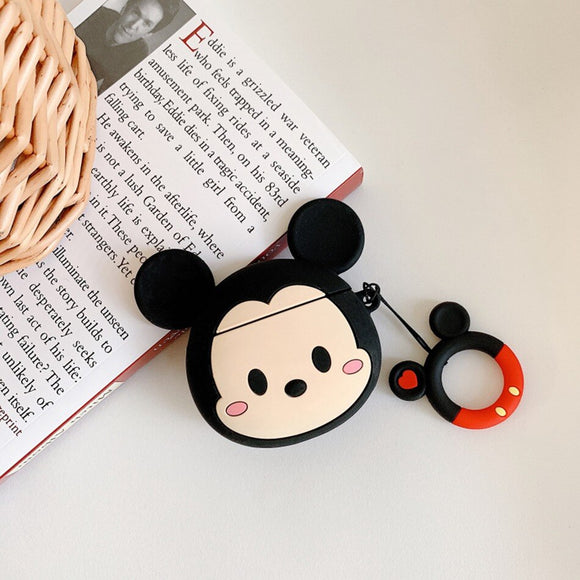 Mickey Cartoon Big Face AirPods Case with Ring - كفر ايربودز