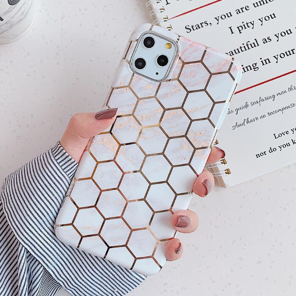 White Shape Marble Geometric Case