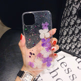 Clear Case with White and Purple Flowers
