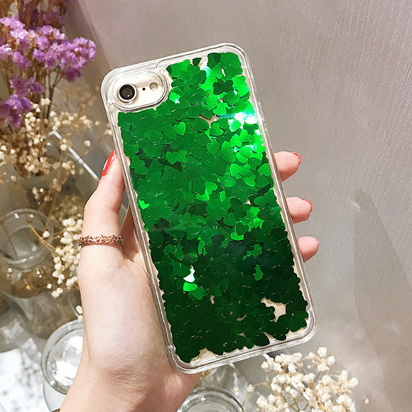 Green Dynamic Heart Glitter Liquid Case