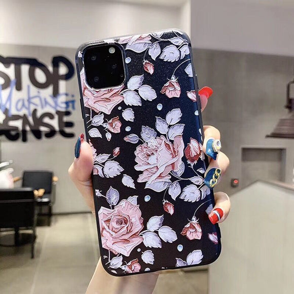 Black Case with Grey and Pink Flower