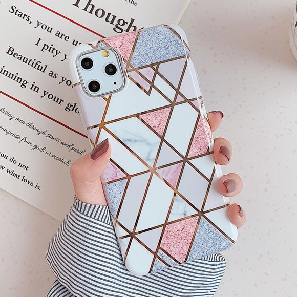 Pink and White Dots Marble Geometric Case