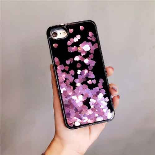 Black and Purple Dynamic Heart Glitter Liquid Case