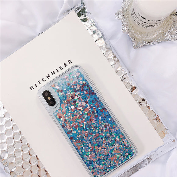 Blue Heart Liquid Glitter Case
