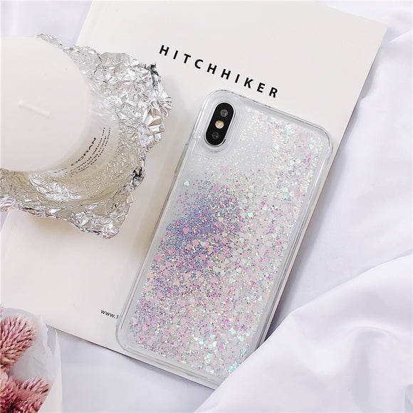 White Heart Liquid Glitter Case