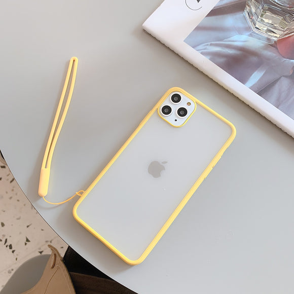 Yellow Border Clear Case with Lanyard - كفر مع خيط علاقة