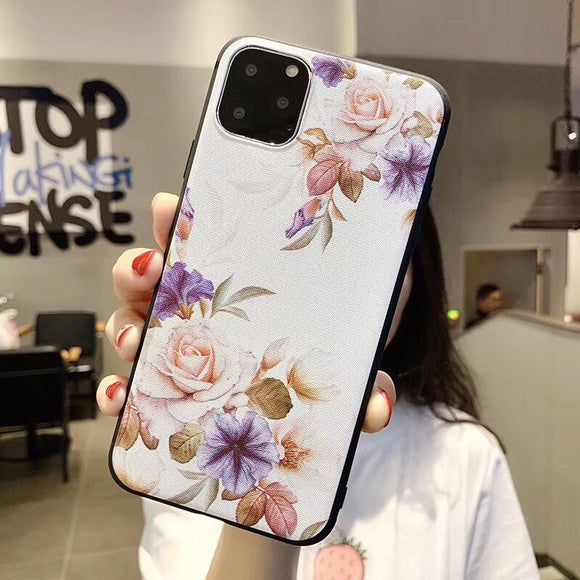 White Purple Floral Case