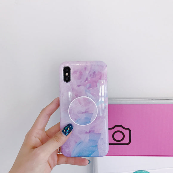 Marble Light Purple Case with POP Grip - كفر مع مسكة دائرية
