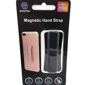 Black - Magnetic Hand Strap - Phone Grip - اسود - مسكة شريطة ومغناطيس