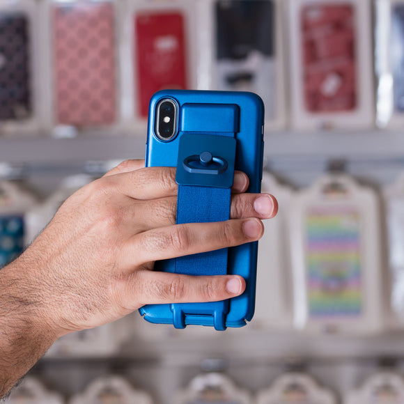 Blue Case with Strap and Ring - كفر مع مسكة وخاتم