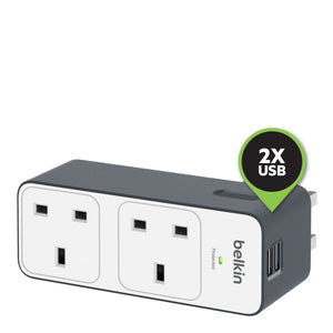 Belkin Surge Plus Travel Adapter with 2 USB Ports - بلاك حائط شن مخرجين مع فتحتين للشحن