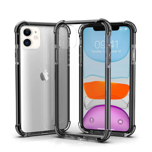 Black Hybrid Shockproof TPU Clear Case