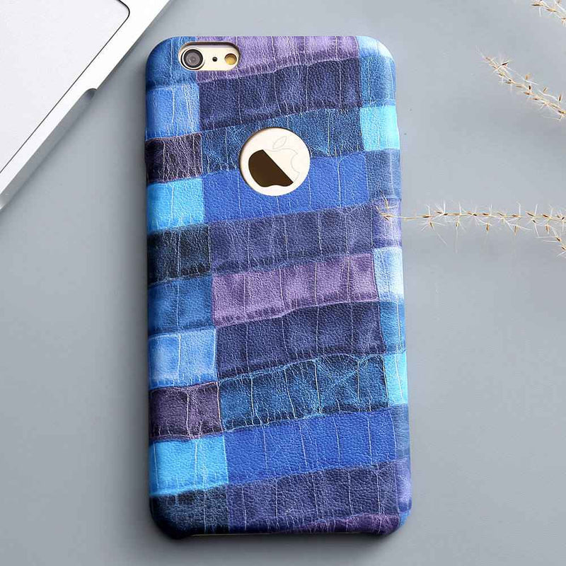 Blue Crocodile Grid Leather Case