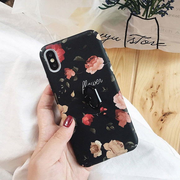 Black Flowers Case with Pink Flowers with Ring - مع مسكة خاتم