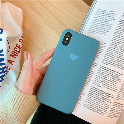 Blue Silicon Plain Heart Case