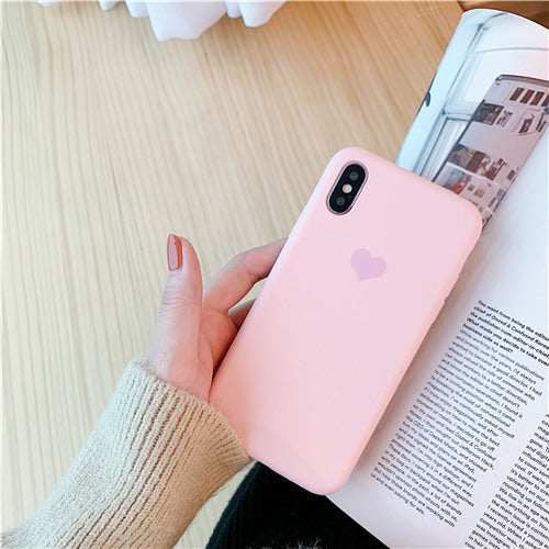 Pink Silicon Plain Heart Case