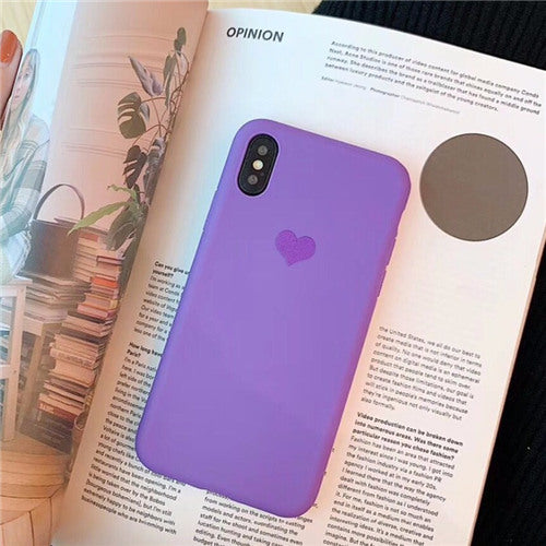 Purple Silicon Plain Heart Case