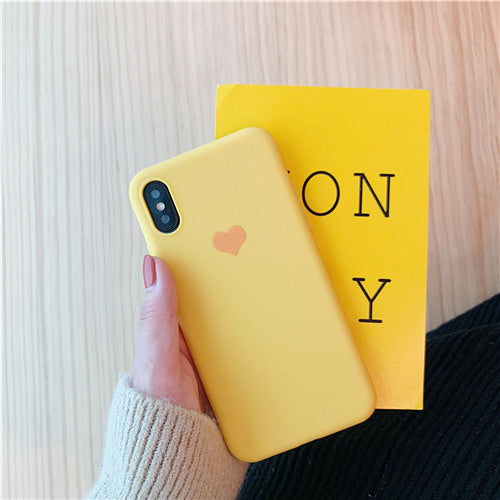 Yellow Silicon Plain Heart Case