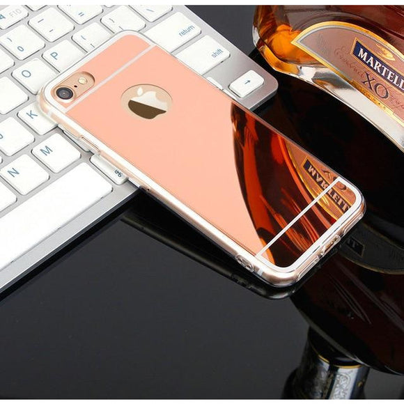 Rose Gold Mirror Case with Logo - روز جولد