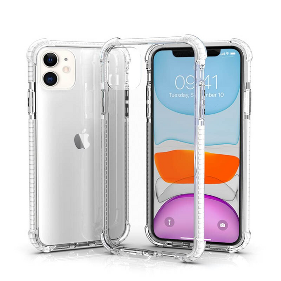 Clear White Hybrid Shockproof TPU Clear Case
