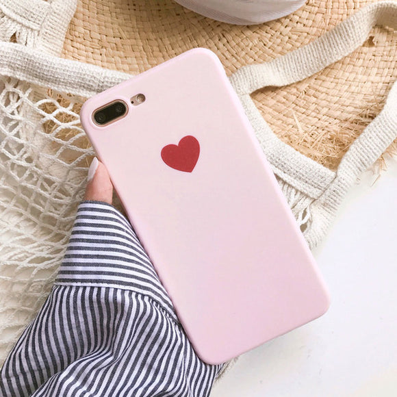 Pink Plain Red Heart Case