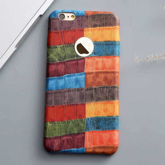Colorful Crocodile Grid Leather Case
