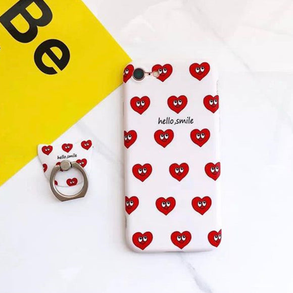 Hello Smile Hearts Case With Ring - كفر مع مسكة خاتم