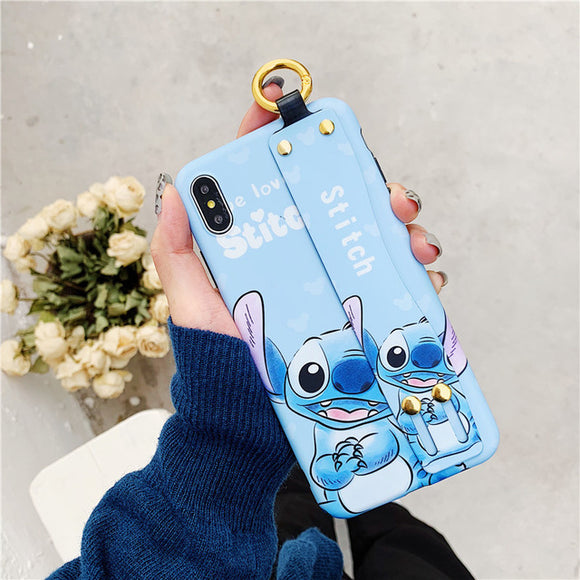 Blue Stitch Cartoon Case With Strap - كفر مع مسكة شريطة