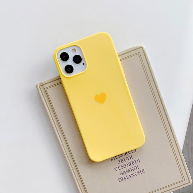 Yellow Love Heart Plain Phone Case