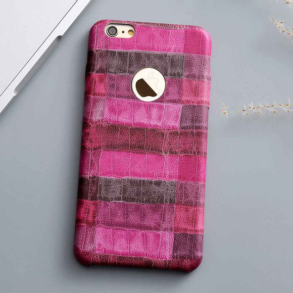 Dark Pink Crocodile Grid Leather Case
