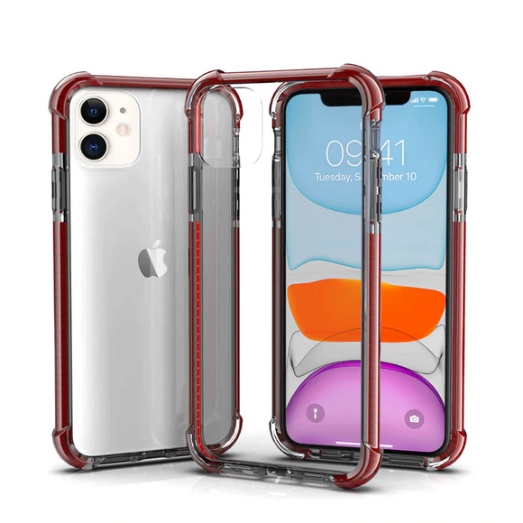 Dark Red Hybrid Shockproof TPU Clear Case