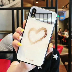 White Case with Gold Heart and Mirror