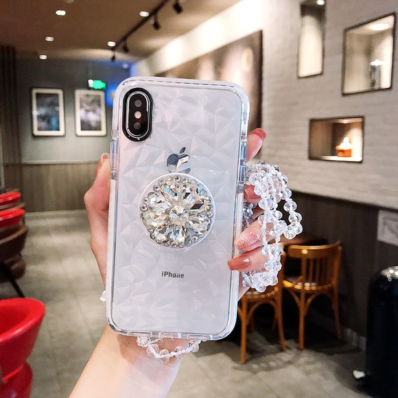 White Crystal Diamond Case with POP Grip and lanyard - كفر مع مسكة دائرية وعلاقة