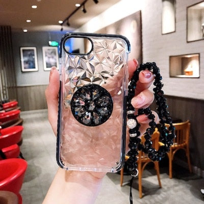 Black Crystal Diamond Case with POP Grip and lanyard - كفر مع مسكة دائرية وعلاقة