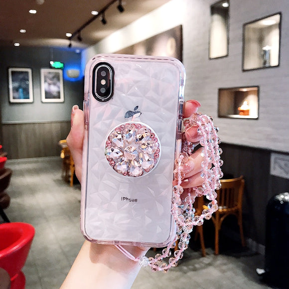 Pink Crystal Diamond Case with POP Grip and lanyard - كفر مع مسكة دائرية وعلاقة