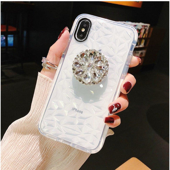 White Glitter Diamond Case with POP Grip - كفر مع مسكة دائرية
