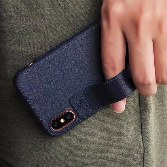 Leather Case with Hand Strap Grip - Dark Blue (Navy) - كحلي - كفر مع مسكة شريطة