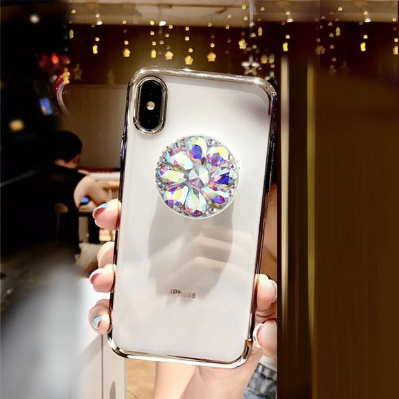 White Diamond Glitter Case with POP Grip - كفر مع مسكة دائرية
