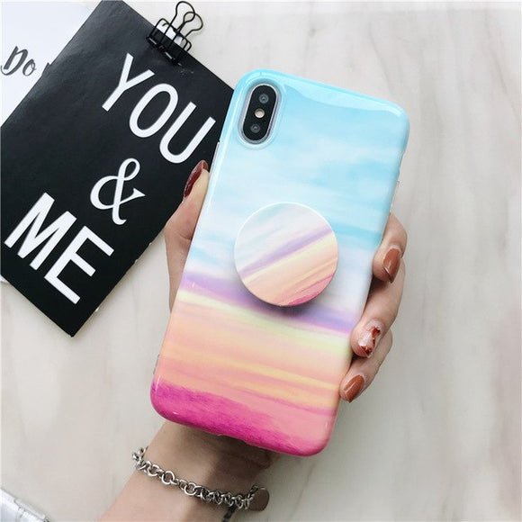 Colorful Shape Marble Case with POP Grip - كفر مع مسكة دائرية