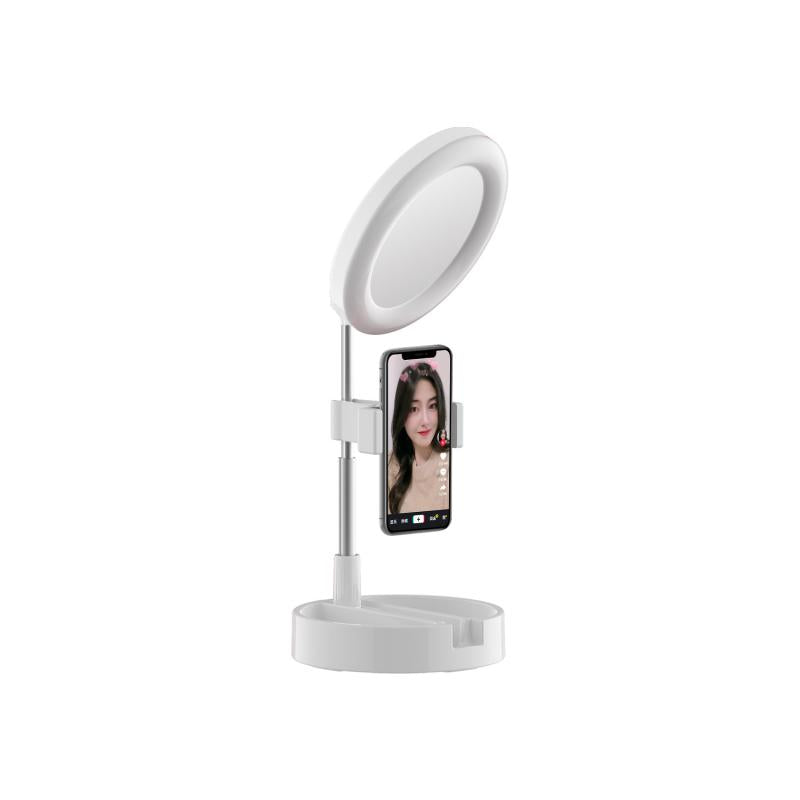 Foldable and Adjustable LED Ring Light with Mirror and Mobile Stand - White - قاعدة اضاءة مع مراية وستاند لجميع انواع الهواتف - متعدد القياس - ابيض