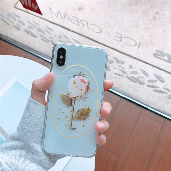 Light Gold Rose Clear Case