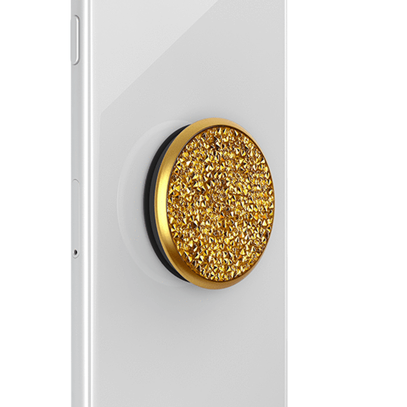 POPSOCKET - Golden Metallic Sunshine Crystal - مسكة دائرية - بوب سوكت - شوارفسكي