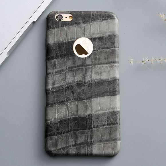 Grey Crocodile Grid Leather Case