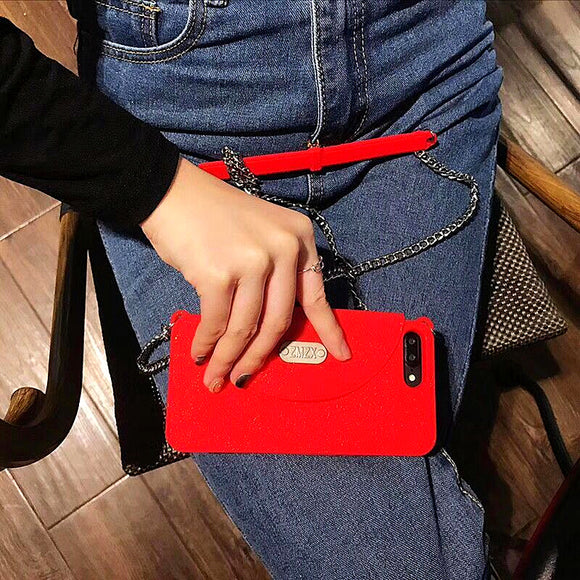 Red Silicon Wallet Case with Chain