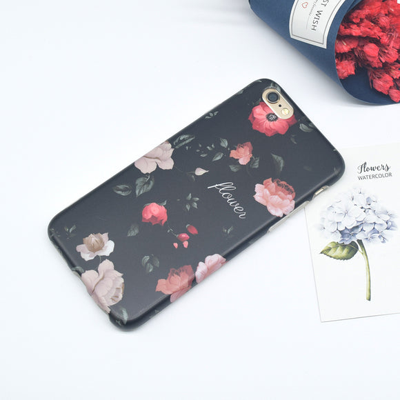Black Flowers Case with Pink Flowers - TPU - ربل