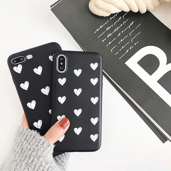 Black White Hearts Case