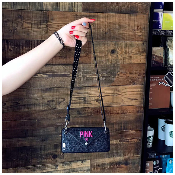 Black Wallet PINK Case with Long Strap - كفر مع محفظة وعلاقة